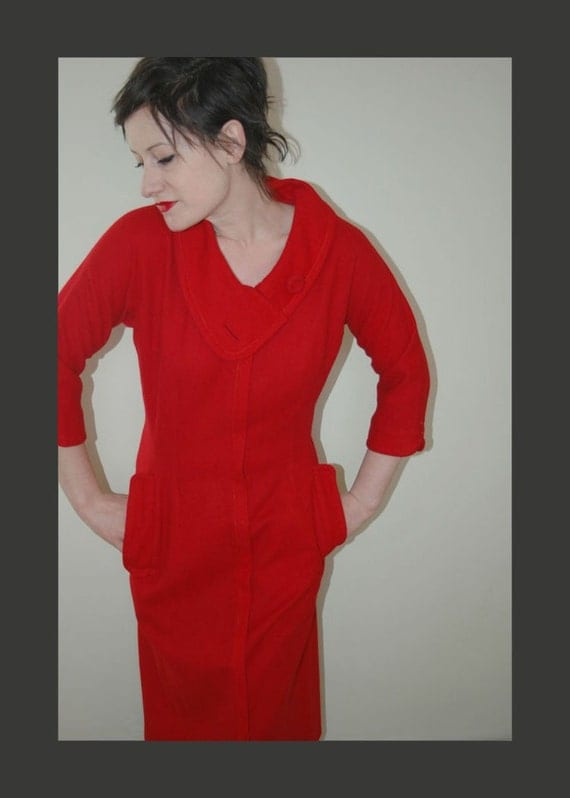 Vintage 1960's Red Wool Dress with Asymmetrical Collar