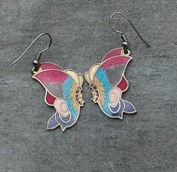 Vintage 1980's Colorful Enamel Butterfly Earrings