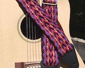 Adjustable Guitar Strap, Handwoven Cloth, Pink Arrows