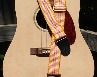 Guitar Strap, Adjustable, Handwoven Cloth, Bright Yellow and Pink