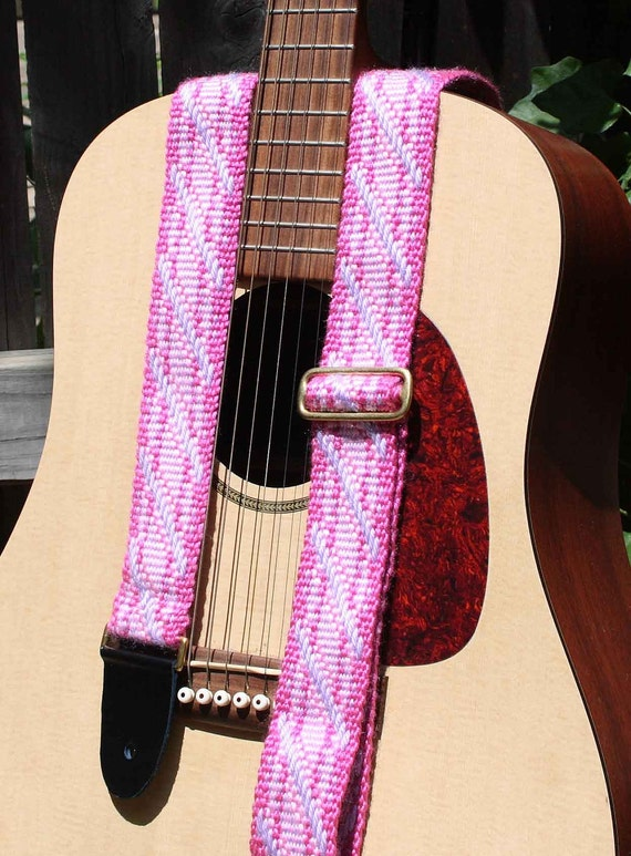 Adjustable Guitar Strap, Inkle Woven Cloth, Pink Candy cane