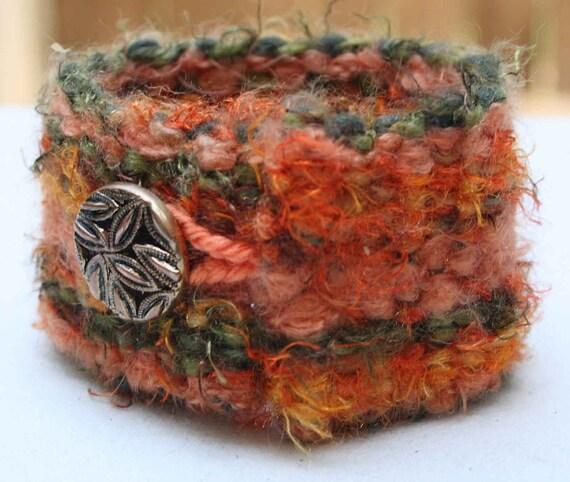 Fuzzy Bracelet - Soft - Copper Colored Button