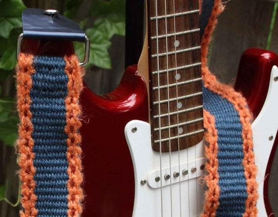 Guitar Strap - Adjustable - Blue and Orange