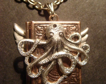 Victorian Style Copper Steampunk Octopus Locket Necklace with Antique Silver Wings