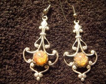 Victorian Style Fire Opal Earrings in Antique Silver (481)