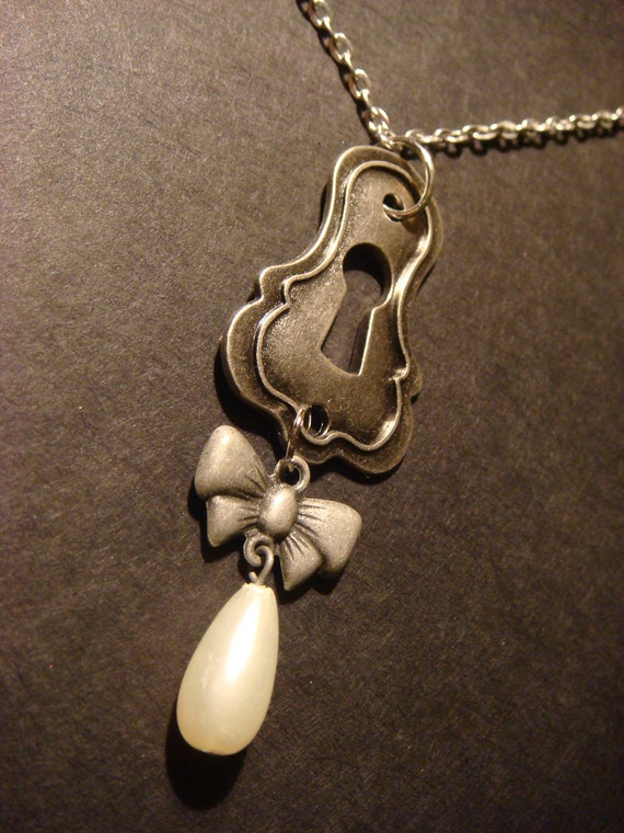 Victorian Steampunk  Key Hole Necklace with Bow and Pearl Drop