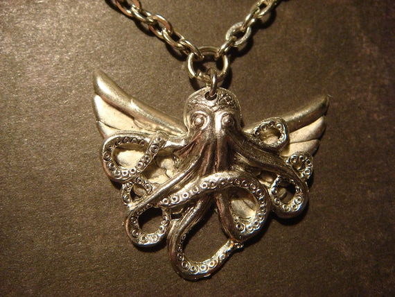 Steampunk Necklace-Octopus with Wings