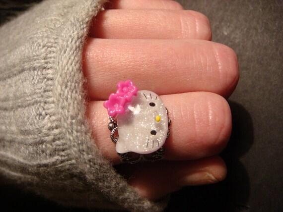 Hello Kitty Antique Silver Filigree Ring- Adjustable