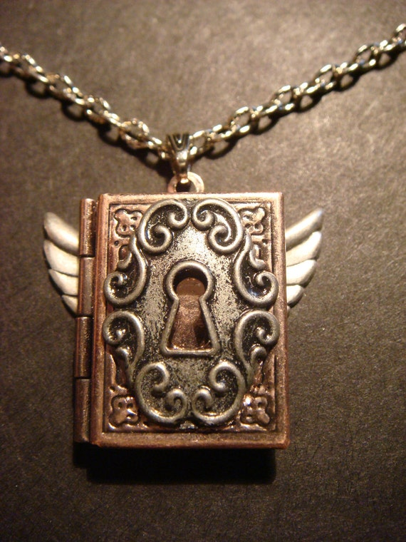 Steampunk Book Locket with Wings and Ornate Key Hole (432)
