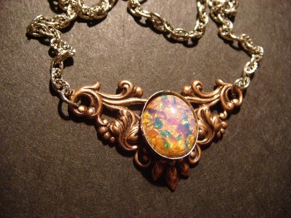 Victorian Style Fire Opal Necklace in Antique Copper - Art Nouveau (443)