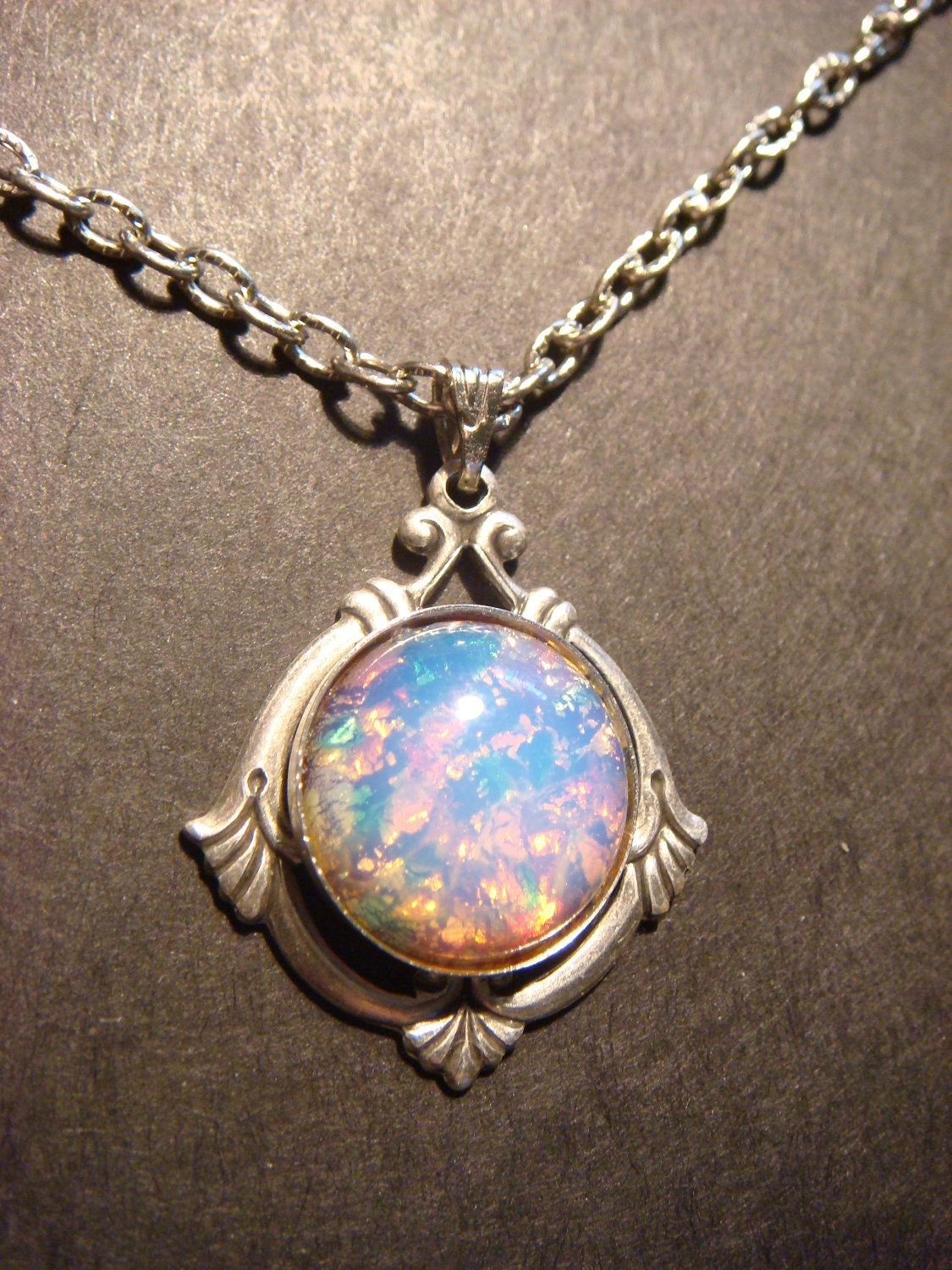 Victorian Style Fire Opal Necklace In Antique Silver 438