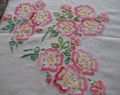 SALE -Stunning Vintage Embroidered Table Cloth