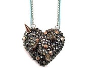 Tough Love Studs and Spikes Crystal Heart Pendant