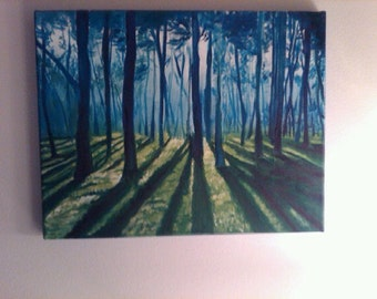 """Original Forest Oil Painting 11""""x14"""" / nature paiting/ woods / trees"""
