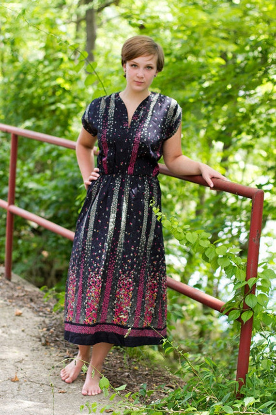 rows of posies - micro floral ruched dress