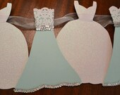 Wedding Dress Garland Paper Bridal Shower Decoration Sparkly White, Teal Green Blue, Silver, White, Lace