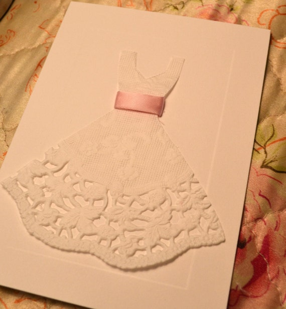 10 Wedding Dress Cards Invitations Bridal Shower Engagement Party Invites Thank You Notes Light Pink Ribbon Blank 3 1/2 x 4 7/8