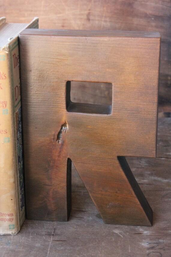 Vintage Large Wooden Letter R