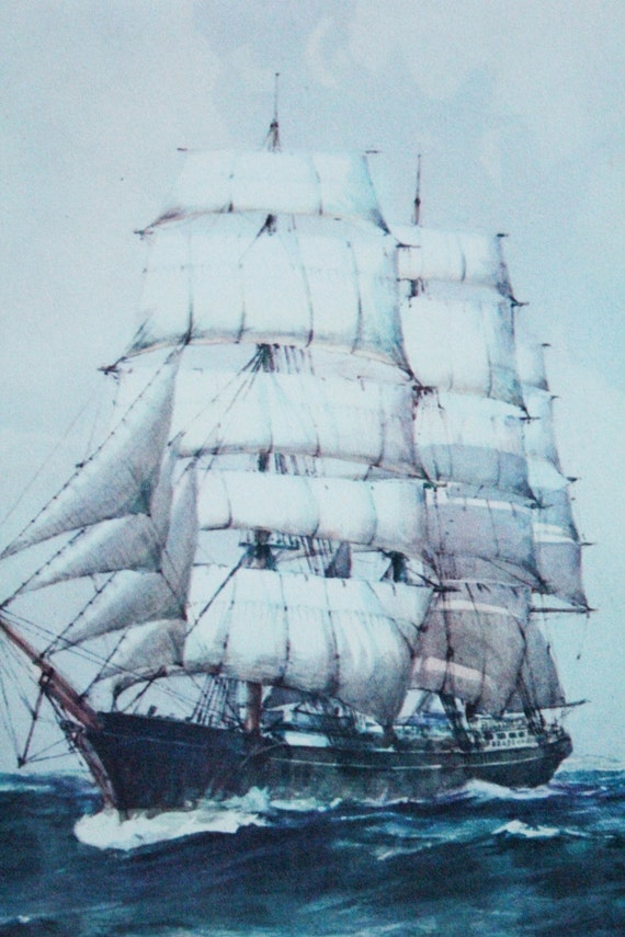 Vintage 50's Nautical LIthograph by Sidney Z. Lucas