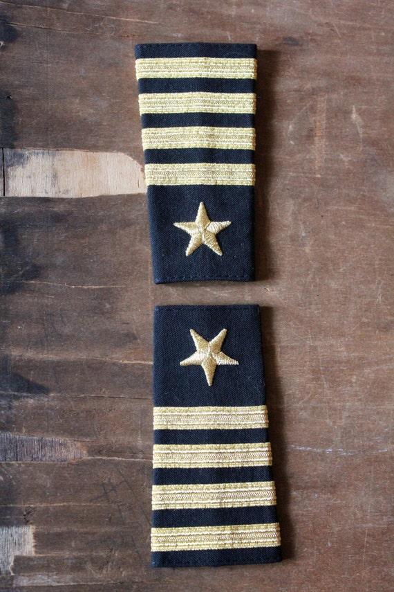 Vintage 80's Black and Gold Navy shoulder epaulets