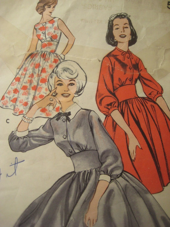 Vintage Butterick 9296 Sewing Pattern, 1050s Dress Pattern, Bust 31 Inches, Juniors Vintage Size 11