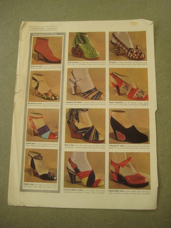 Vintage 1930s Shoe Photographs, Fashion Magazine Page Featuring Shoes, Vintage Shoe - Fashion Design