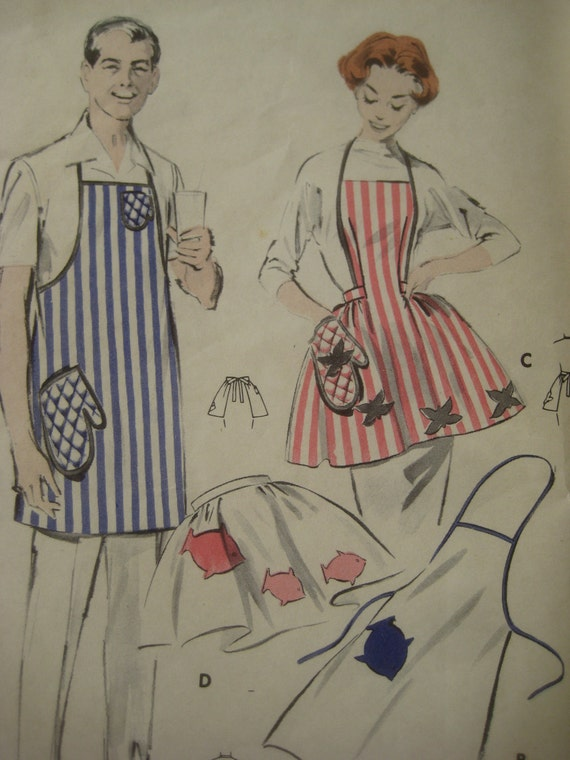 Vintage Butterick 8338 Sewing Pattern, His and Hers Apron Patterns, Pot Holder Pattern, 1950s Quick and Easy Pattern