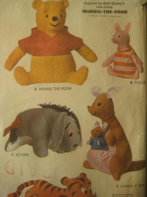 Vintage Mccall S 8087 Sewing Pattern Winnie The Pooh