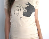 Womens Screen Printed American Apparel T-shirt (you pick size) - Eco Friendly Cotton Summer Shirt - Vintage Rabbit Shadow Puppet