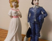 Blue Boy and Pinkie Vintage Figurines, vintage, Hand Painted, Pinky, Ceramic