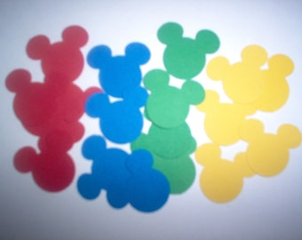 Mickey Mouse ears, die cuts, heads, punchies, Mickey Mouse Club House colors, 160 pieces, Disney, Minnie Mouse