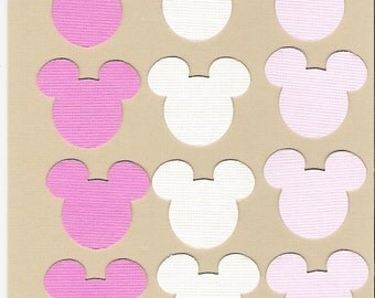 Mickey Mouse ears die cuts punchies in Pink and White, scrapbooking, cardmaking, confetti, placecards, candy buffet, 120 pieces