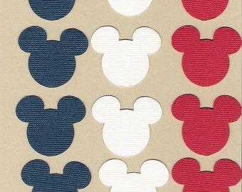 Mickey Mouse ears die cuts, punchies, Patriotic, red, white & blue, Disney, Disneyana, 120 ears, Treasury Item