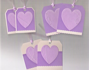 10% Discount/Gift Tags, Set of 6, Holiday Tags, Hearts, Lavender, Purple, Hang Tags, Valentine, Treasury Item