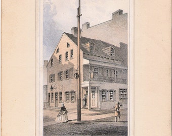 Vintage lithograph, The Old Columbia House in New York, by D.T. Valentine, Valentine Manuals, 1861, available for layaway