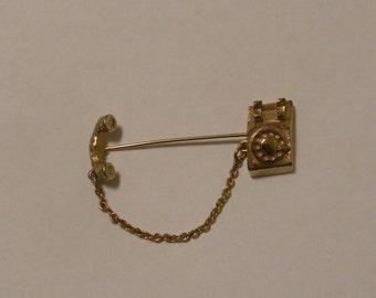 Vintage, AVON, Telephone stick pin, goldtone, signed, 1980s, phone, gold tone
