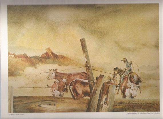 Vintage Cowboy, Cattle Drive, Lithograph, Western Art, Country Western, Southwest, New Mexico, Art