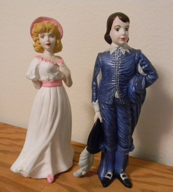 Blue Boy and Pinkie Vintage Figurines, vintage, Hand Painted, Pinky, Ceramic