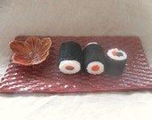 Red Sushi Plates w/ Cherry Blossom Bowl