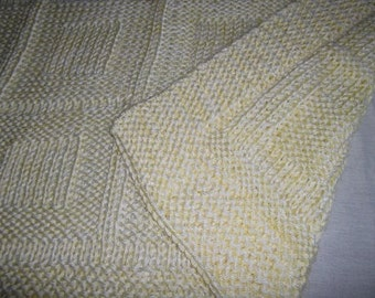 Baby to Toddler Knitted Afghan Blanket - Yellow and White