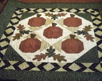 Pumpkins Patchwork Appliqued Quilt