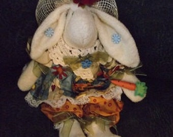 Terrycloth Bunny with Rafia hat