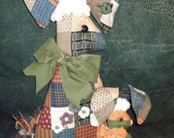 Soft Sculpture - Country Plaid Bunny with Baby