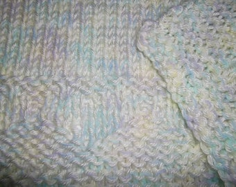 Hugs to Go Hearts Knitted Baby Afghan Blanket - Pastels with Yellow