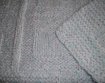 Baby to Toddler Knitted Afghan Blanket - Pale Blue and Lilac