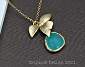 Orchid Necklace Gold Rimmed Aqua Necklace, Flower Necklace, Wedding Jewelry, Bridesmaid Gift Idea,Mothers Jewelry
