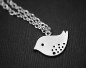 Spotted Bird Necklace in SILVER - Adorable Sparrow Necklace