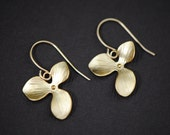 Orchid Earrings Gold - Single Triple Leaf Orchids - Bridesmaid Jewelry, Sister, Daughter, Wife Gift