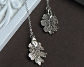 Real Leaf Necklace in STERLING SILVER, Lariat Style, Two Real Oak Leaves, Botanical Bridesmaid Gifts, Woodland Wedding