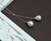 Lariat Pearl Necklace -Wire Wrapped Pearl Necklace in Sterling Silver, Wedding, Bridal Party Jewelry, Classic Necklace